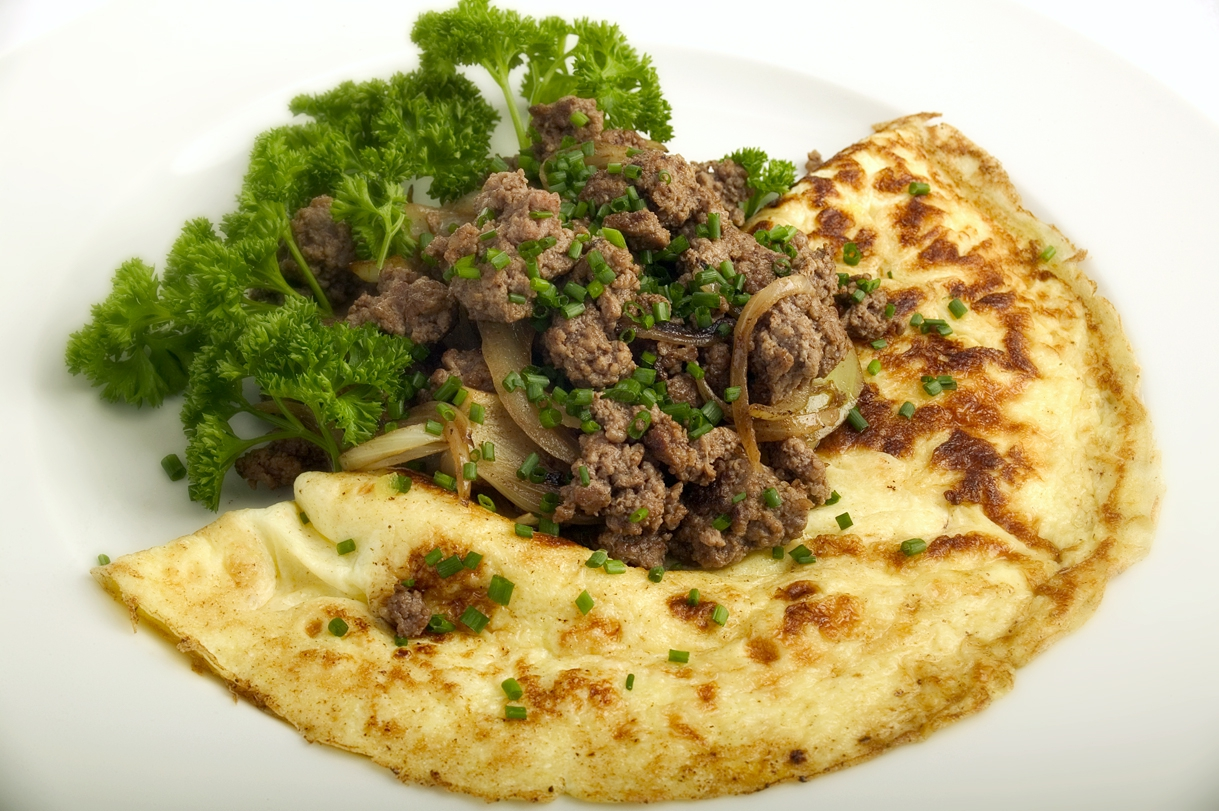 Omelet med hakket kød