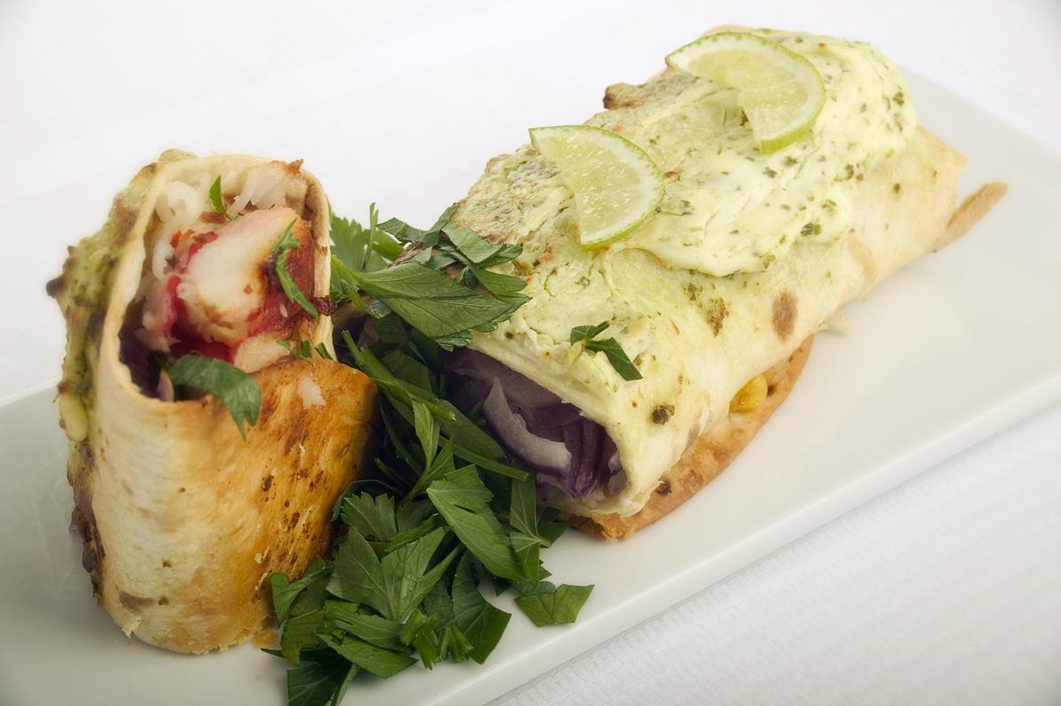 Enchiladas med krabbe og rejer