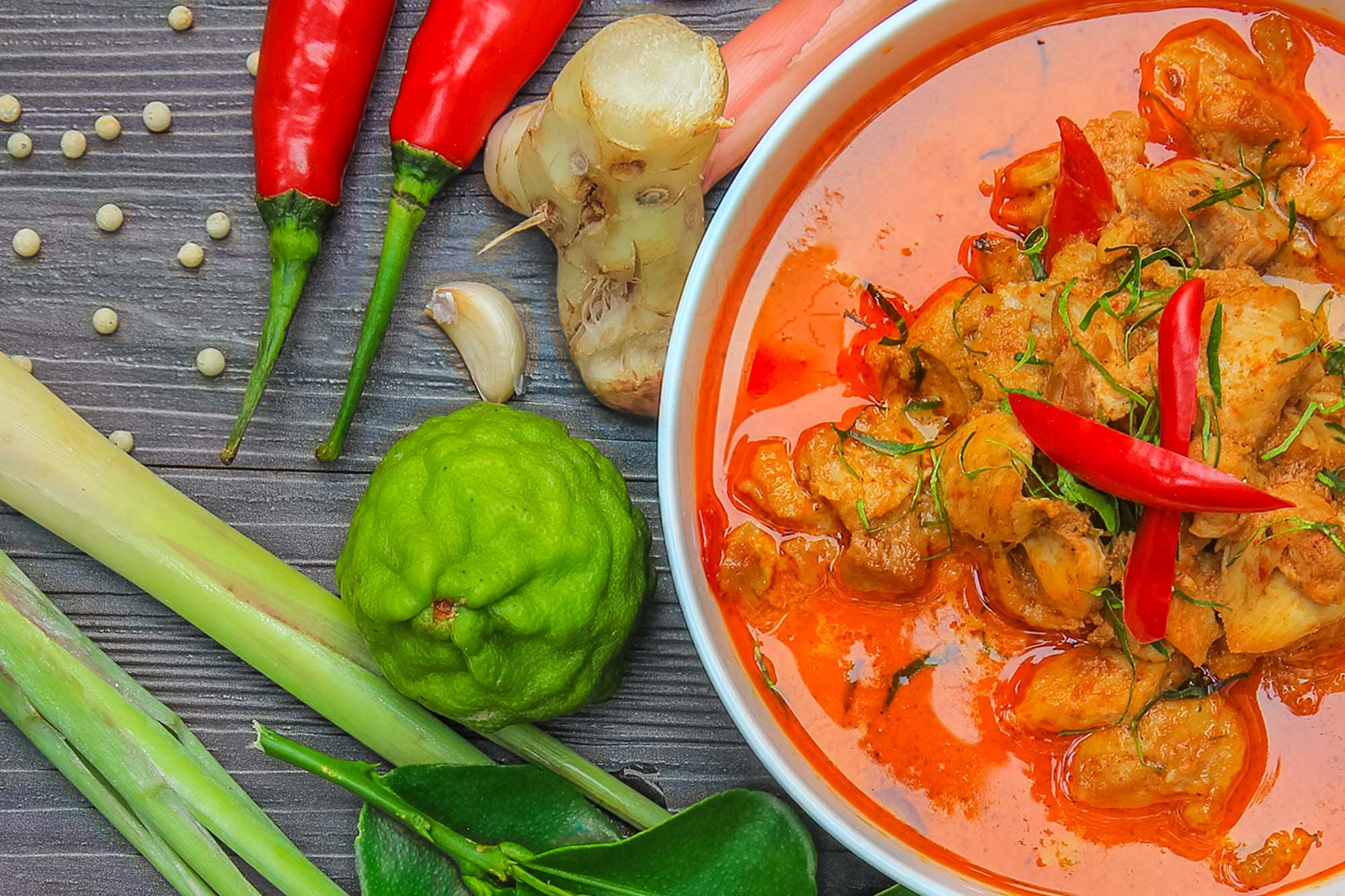 Thai rød curry med kylling