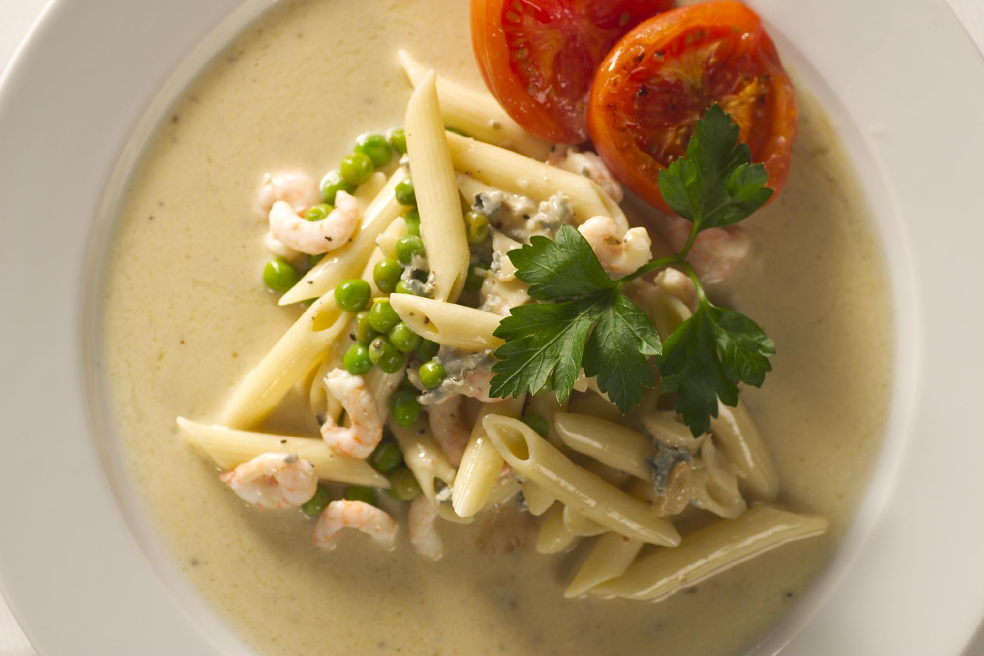 Pasta med gorgonzola og rejer