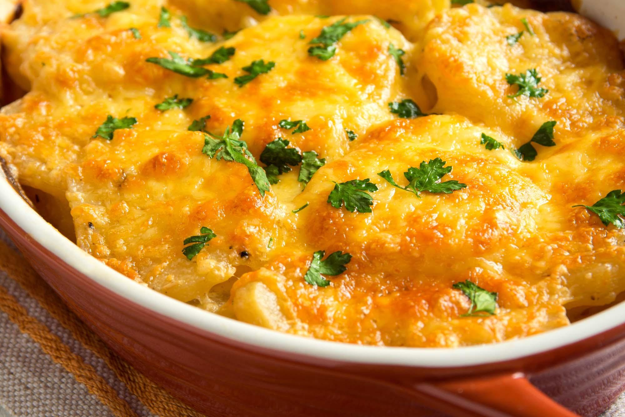 Fløde og oste kartofler