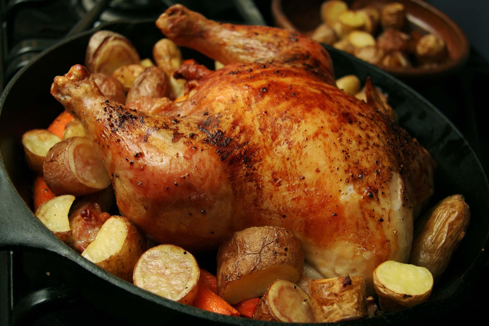 Ovnstegt kylling med kartofler