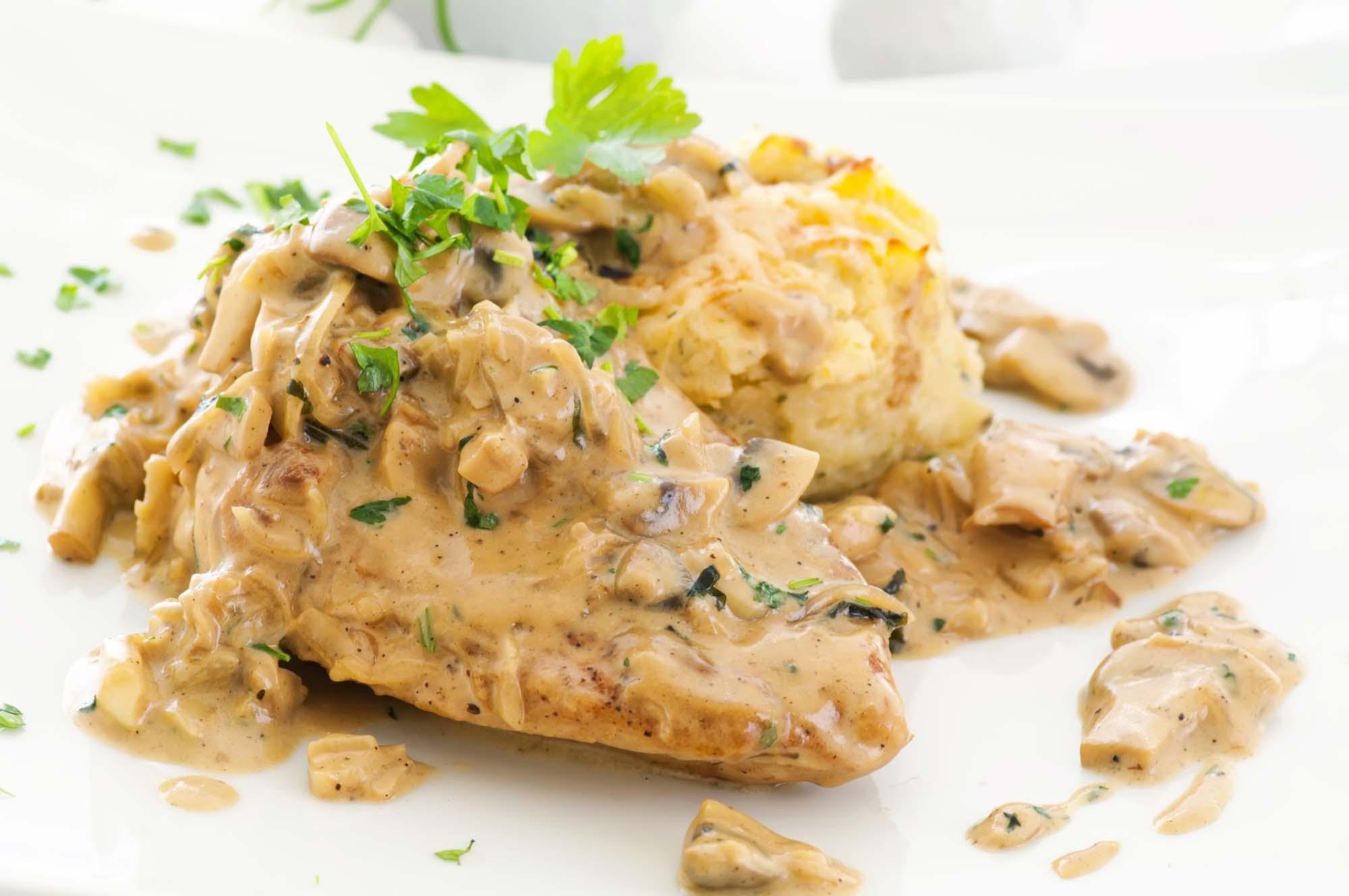 Kalkunschnitzel med champignonsauce