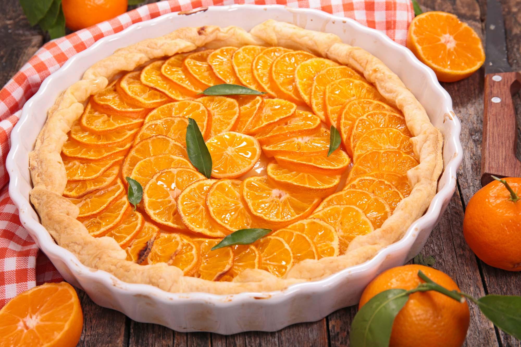 Appelsin-hindbær tærte