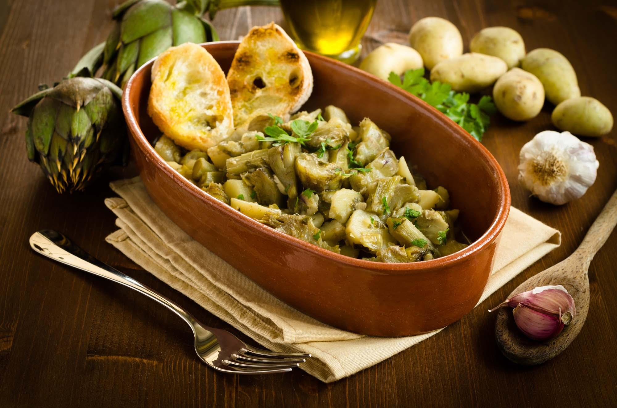 Marineret kartoffel- og artiskoksalat