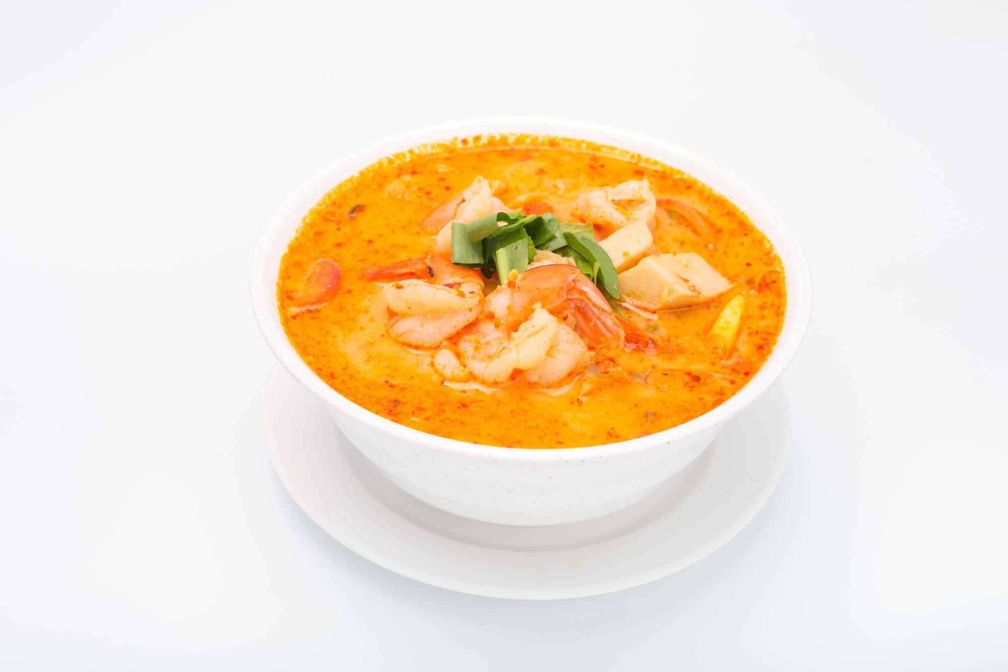 Rød thaicurry med rejer