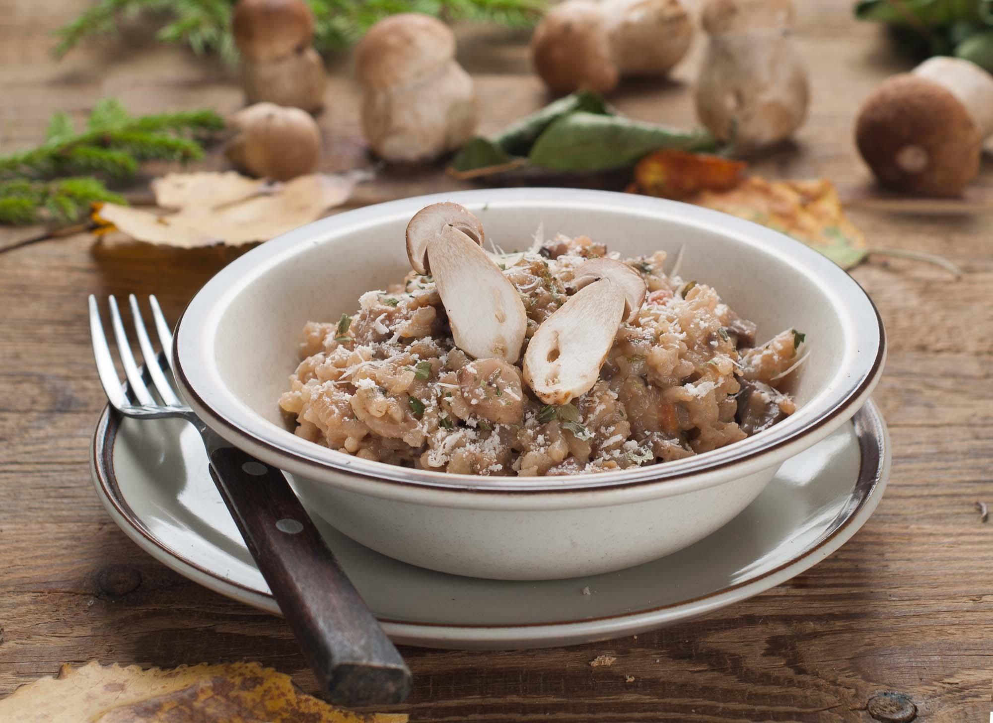 Kalkunrisotto med spinat og vilde svampe
