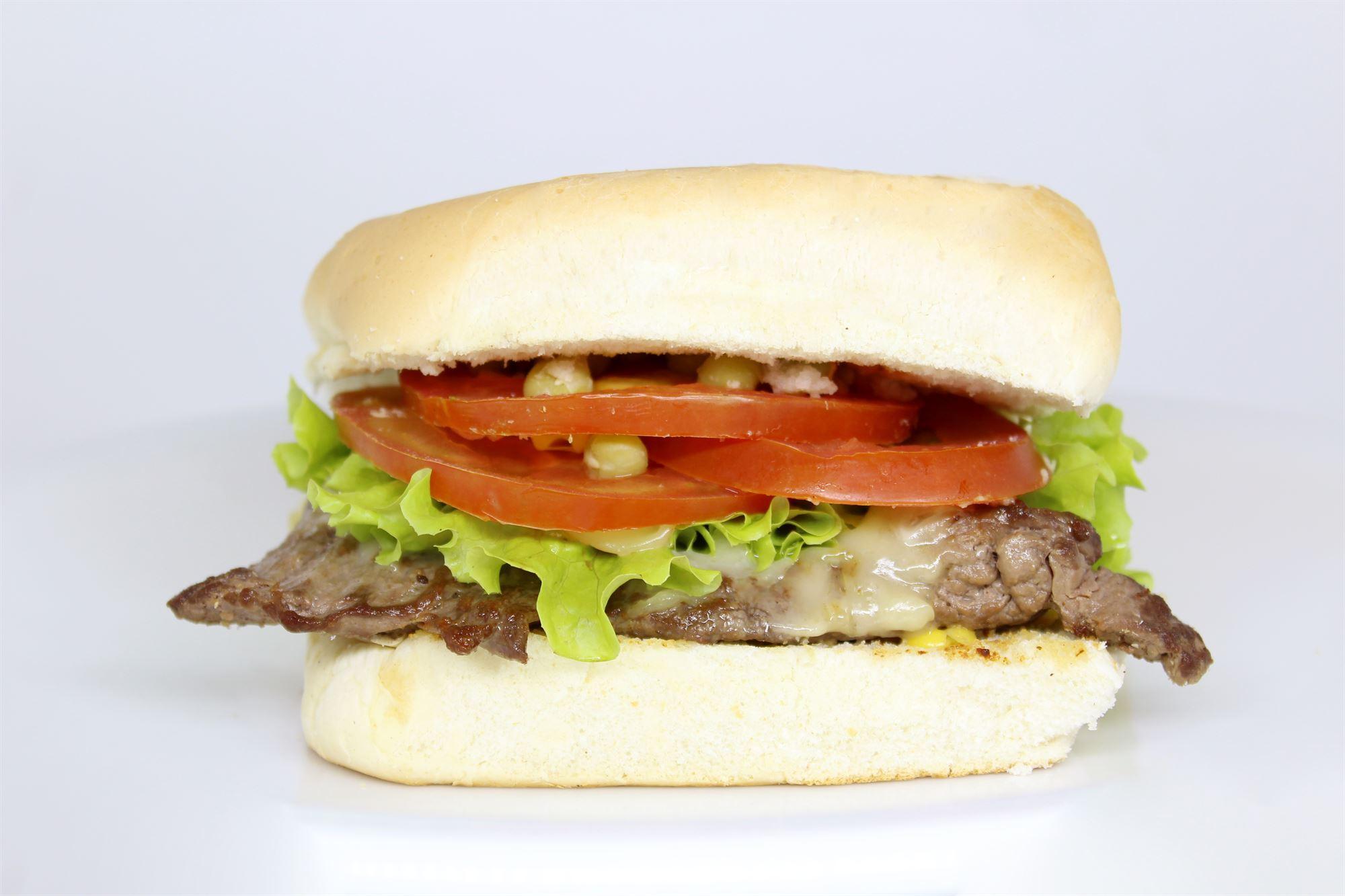 Sandwich med grillet oksemørbrad, brie, peberfrugt og brøndkarse