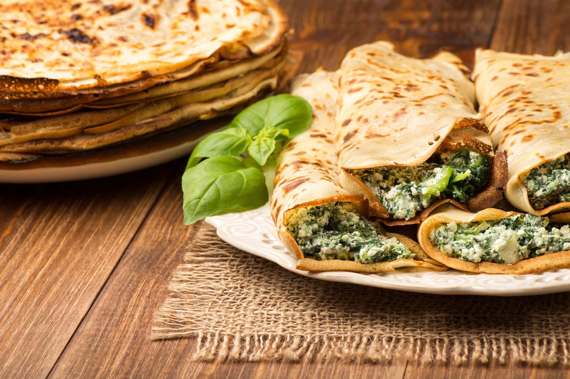 Pandekager med spinat og skinke