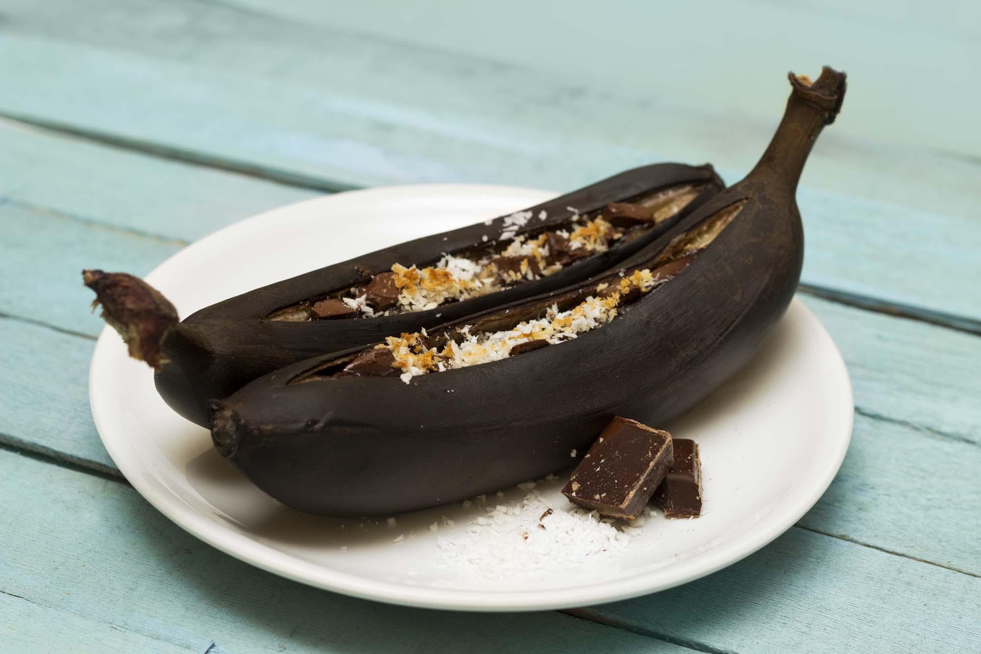 Bananbåde med farin og flødeskum