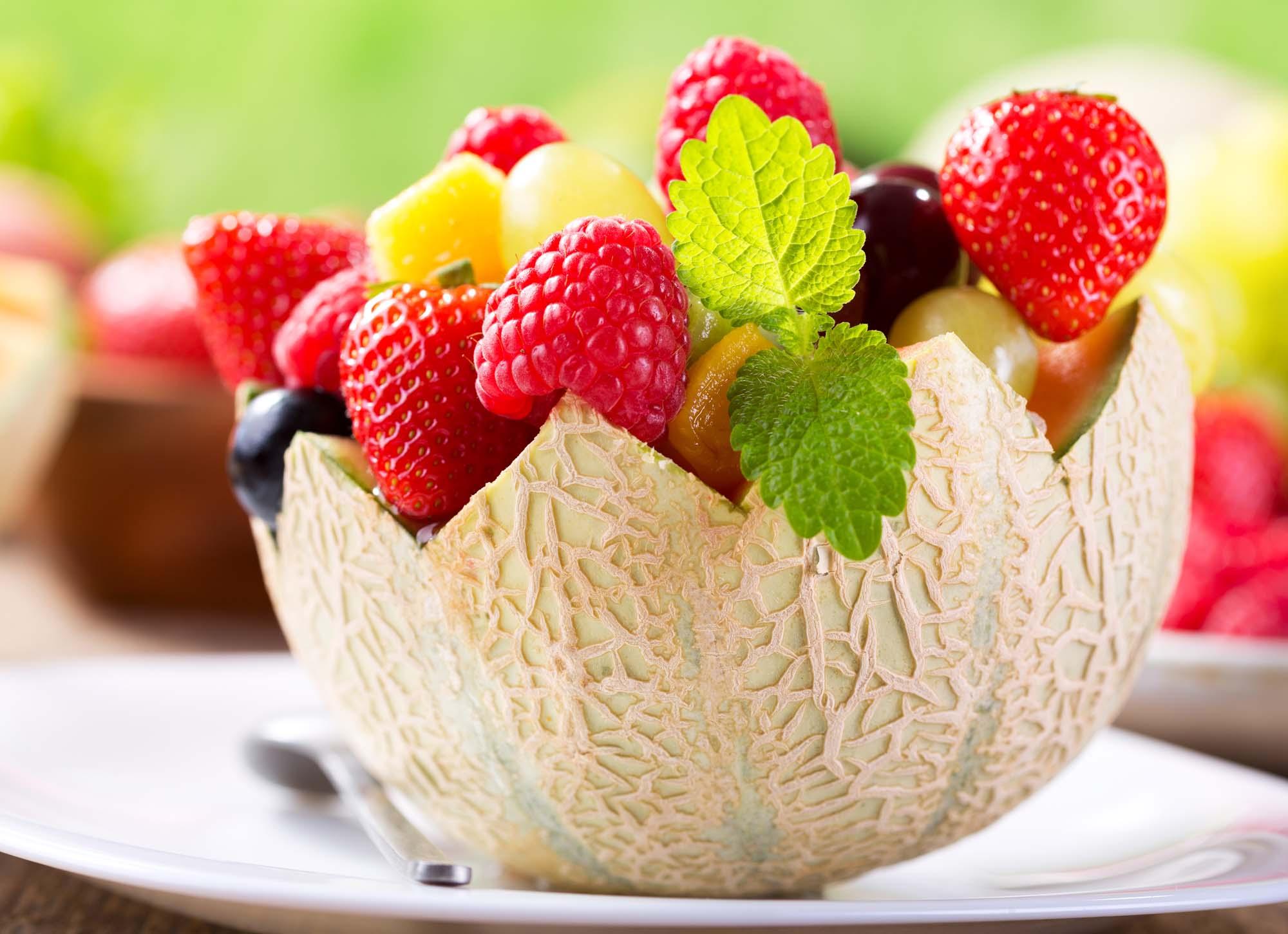 Melonskål med vindruer