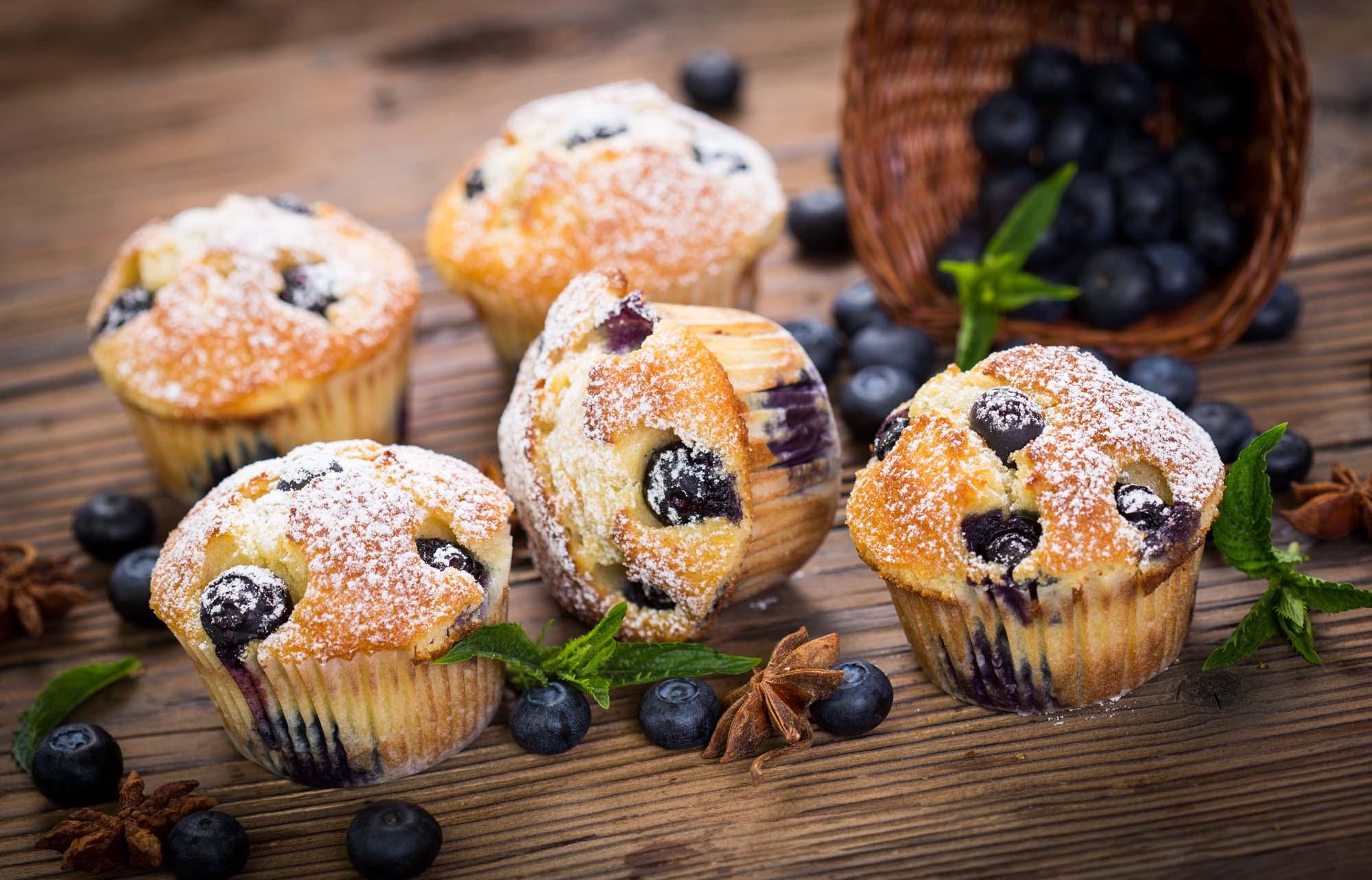 Amerikanske blåbærmuffins