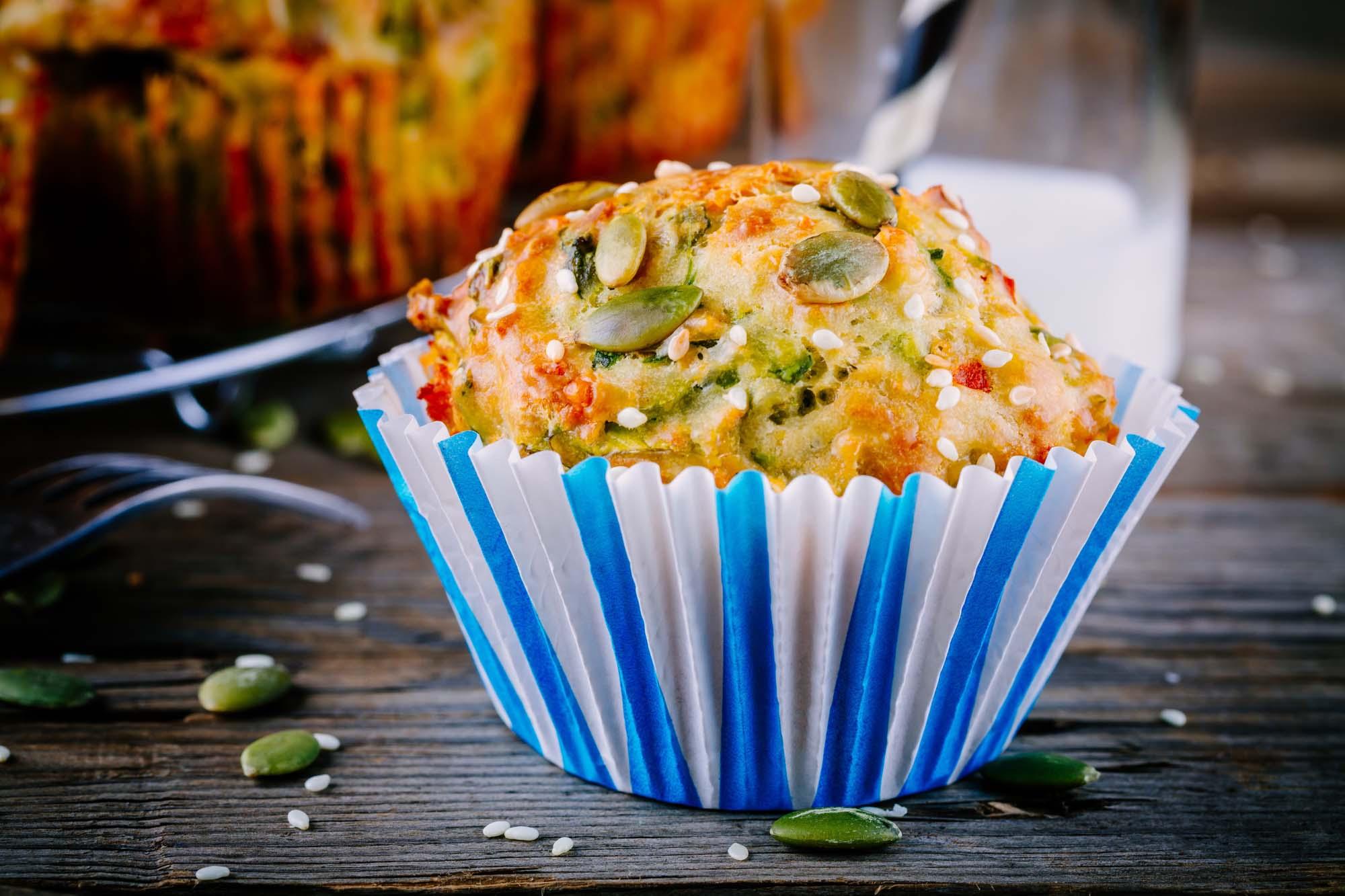 Muffins med feta og spinat