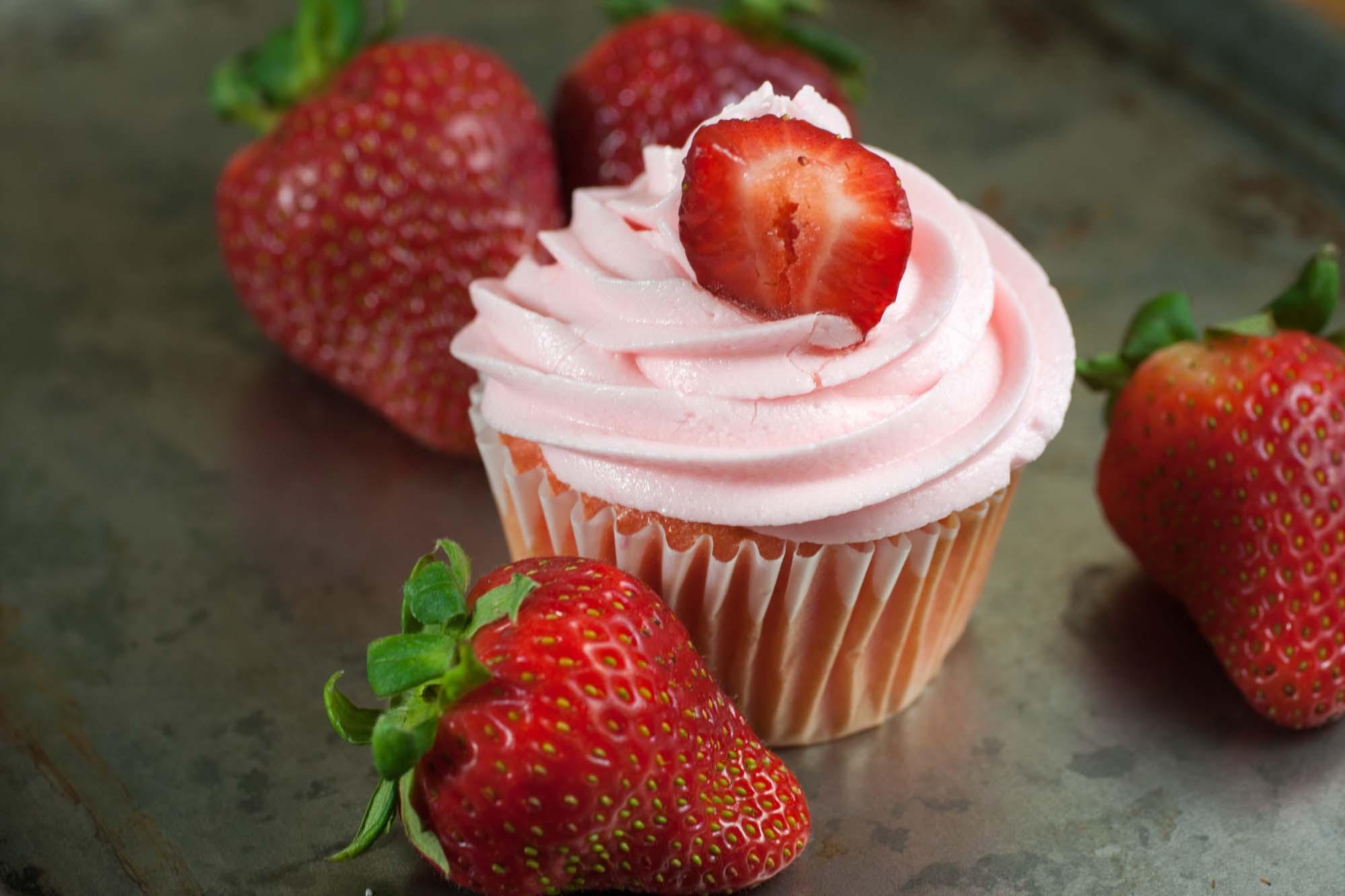 Jordbær cupkakes