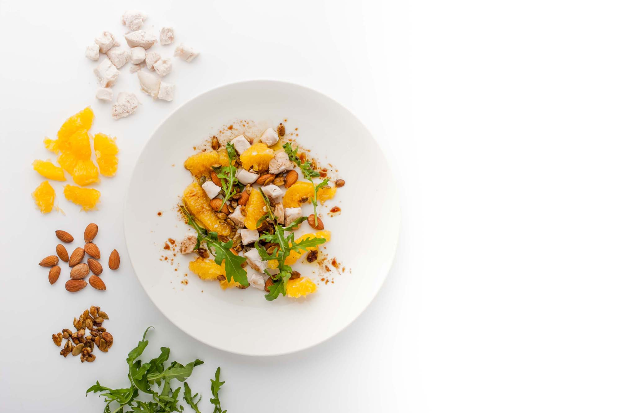 Mandel og appelsin salat