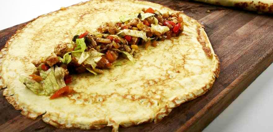 Mexikanske pandekager med kalkunfyld