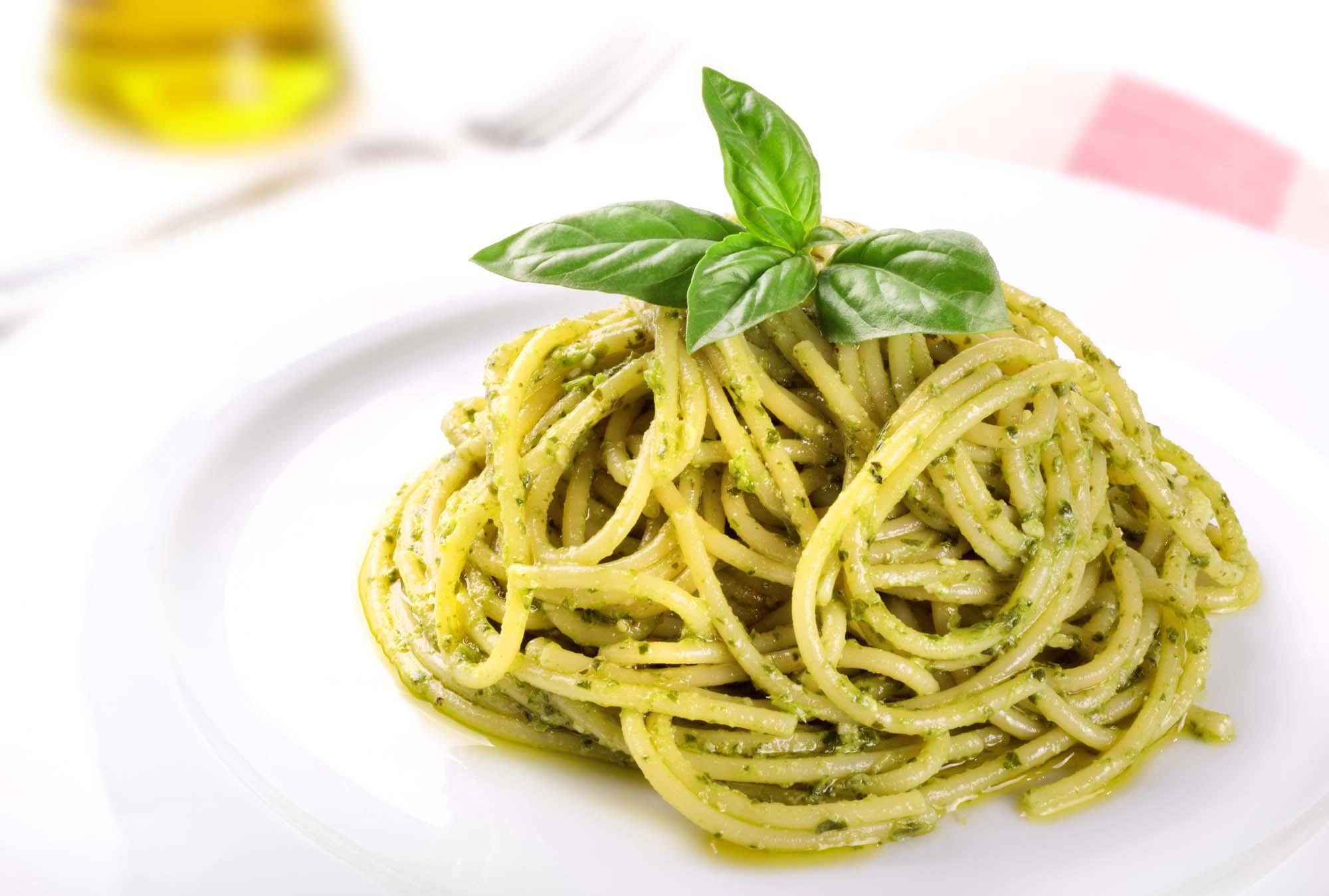 Spaghetti med rucolapesto