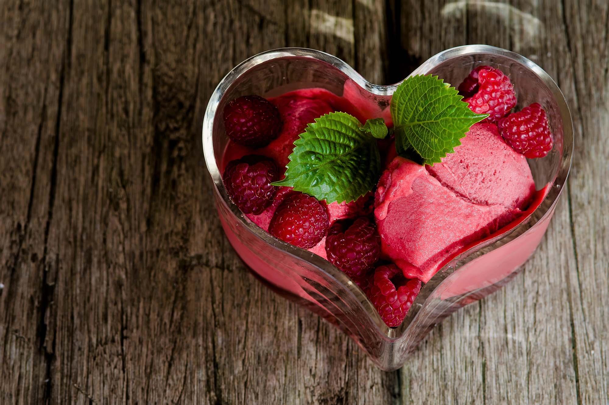 Hindbær og lime sorbet