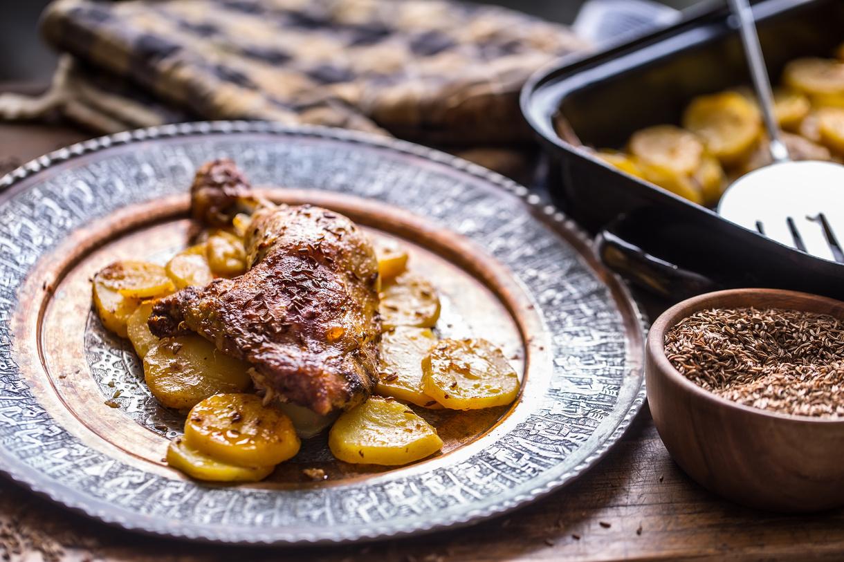 Kyllingelår på Provence kartoffelbund