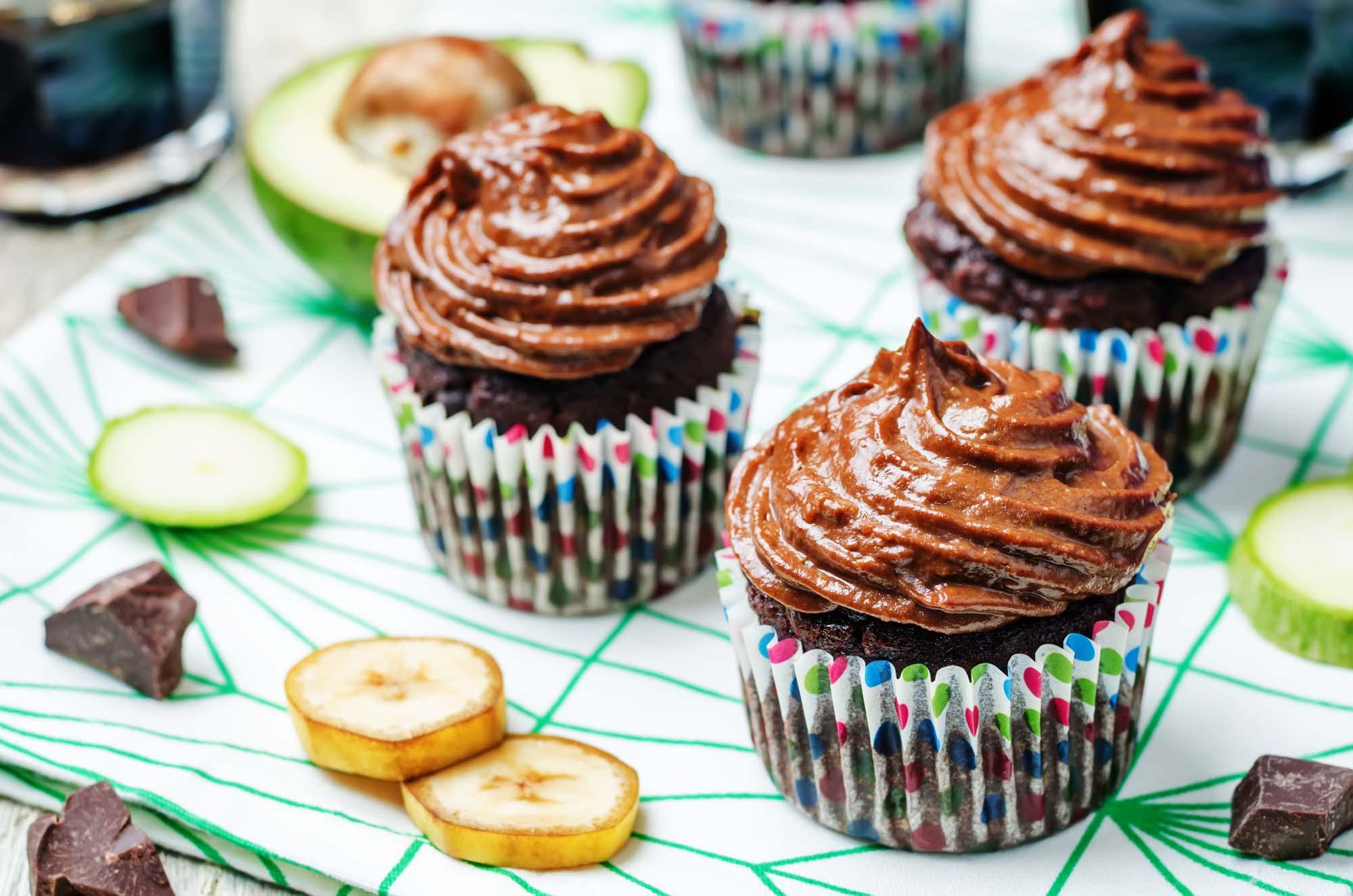 Chokolade cupcakes med banan