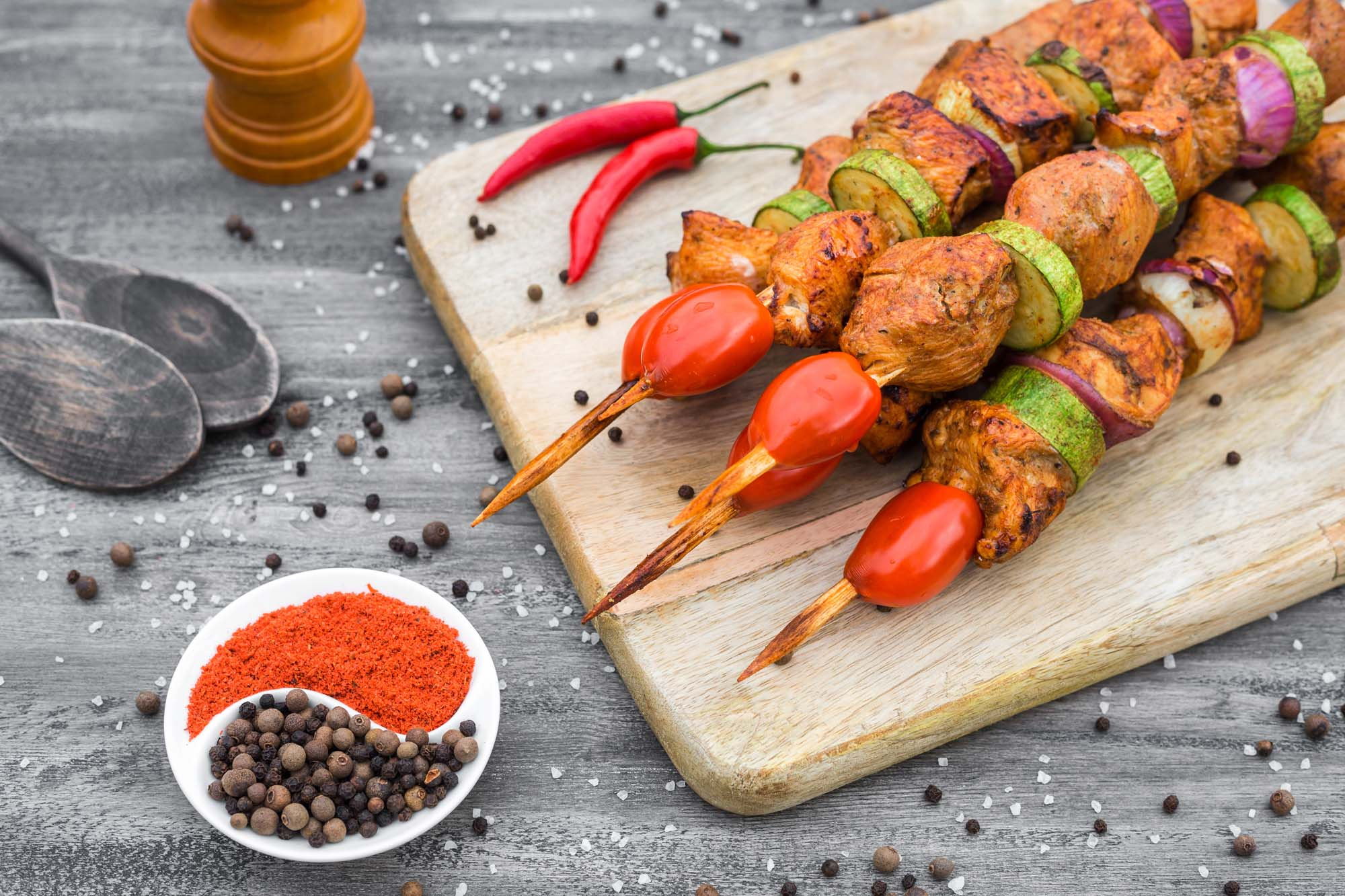 Mexicanske kyllingekebabs